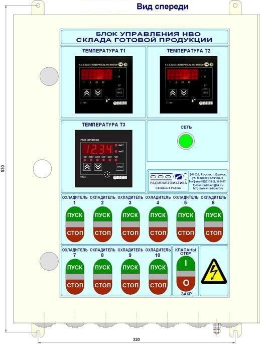 Блок БУ-НВО-СГП предназначен для управления работой охладителей воздуха склада готовой продукции пивзавода в ручном...